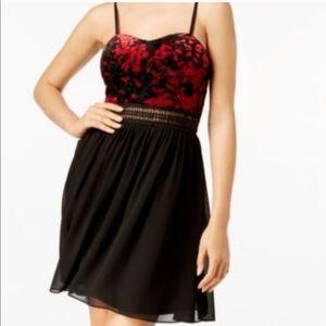 NWT BCX Velvet Black and Red Dress Size 5
